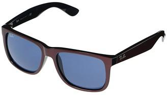 Ray-Ban RB4165 Justin Square Sunglasses 54 mm (Bordeaux Metallic/Black) Fashion Sunglasses