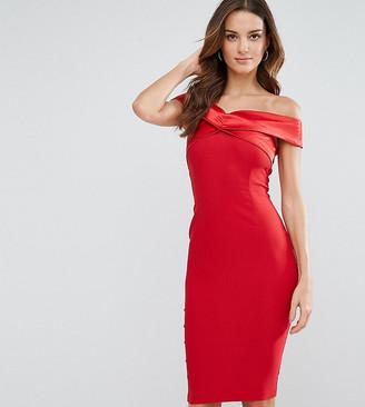 Vesper Structured Pencil Dress With Satin Off Shoulder