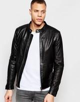 Minimum Leather Bomber Jacket - Black