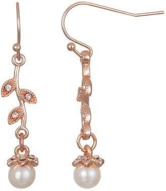 Lauren Conrad Simulated Pearl Floral Nickel Free Drop Earrings