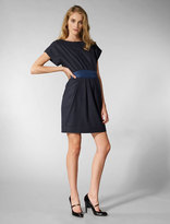 Flannel Button Back Dress in Navy Heather