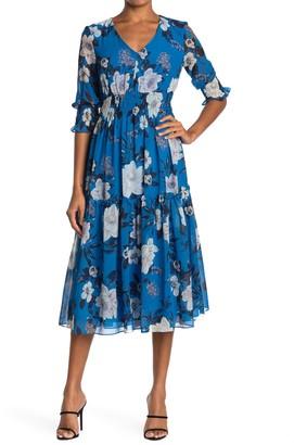 Taylor Printed Chiffon Smocked Waist Dress