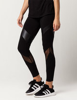Full Tilt Faux Leather Mesh Womens Leggings