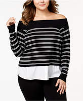 INC International Concepts Plus Size Layered-Look Off-The-Shoulder Sweater, Created for Macy's