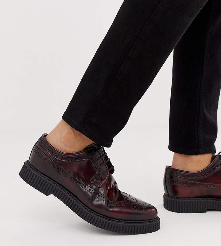 Asos DESIGN brogue shoes with creeper sole in burgundy leather