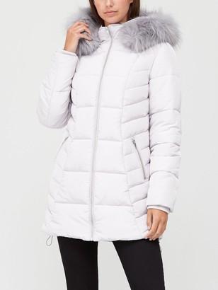 Very Multi Seam Padded Jacket - Pale Grey