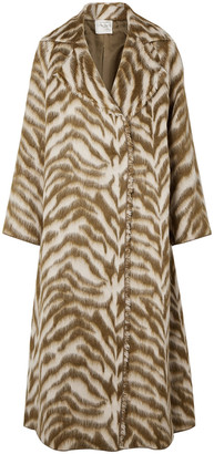 Forte Forte Oversized Zebra-print Wool-blend Faux Fur Coat