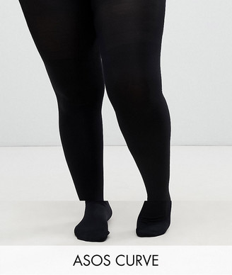 ASOS DESIGN Curve 2 pack 140 denier black tights new improved fit