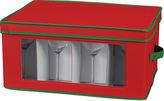 Household Essentials Red Holiday Goblet Stemware Storage Chest