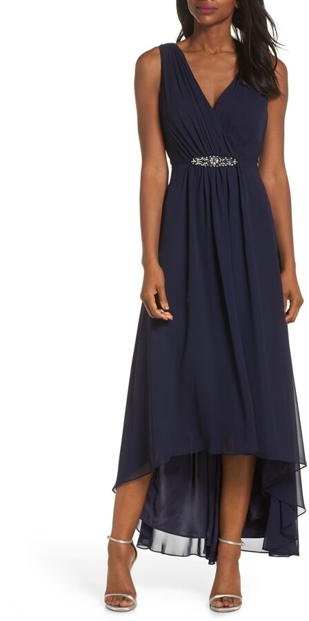 Eliza J Embellished High/Low Chiffon Dress