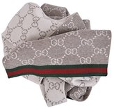 Gucci Men's Taupe Wool Reversible GG Guccissima Red Green Stripe Scarf