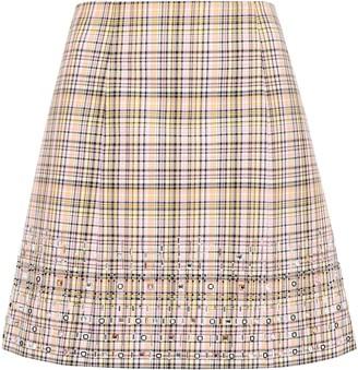 Carolina Herrera Embellished Checked Woven Cotton Mini Skirt