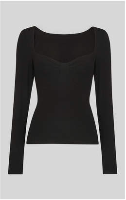 Whistles Long Sleeve Fitted Corset Top