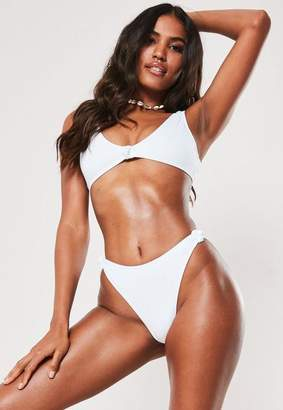 Missguided White Knot Front Super Scoop Bikini Top