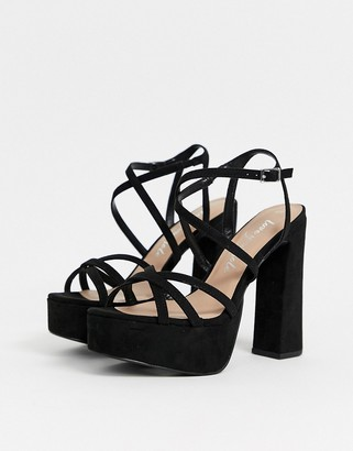 New Look strap up platform high heel in black
