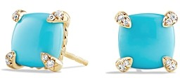 David Yurman Chatelaine Earrings with Turquoise and Diamonds in 18K Gold