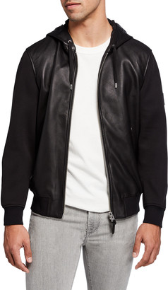 Mackage Men's Grant Mixed-Media Leather Hooded Jacket