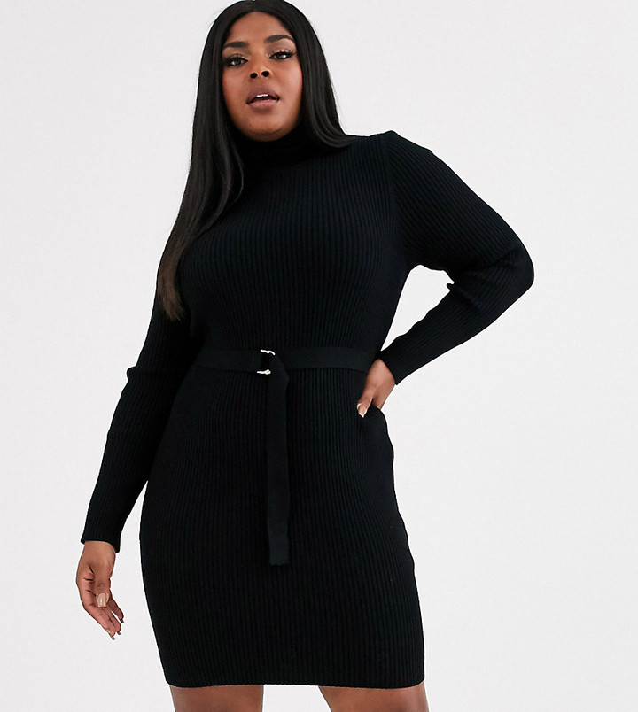 ASOS DESIGN Curve belted rib knit mini dress with roll neck