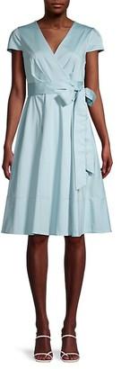 Gal Meets Glam Cap-Sleeve Wrap Dress