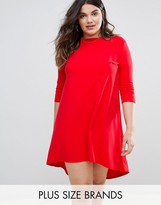 Club L Scuba Crepe High Low Dress With Short Sleeve