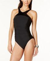 Magicsuit Faux-Leather-Trim Tummy-Control One-Piece Swimsuit Women's Swimsuit
