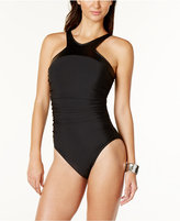 Magicsuit Faux-Leather-Trim Tummy-Control One-Piece Swimsuit