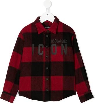 DSQUARED2 Icon-print plaid shirt