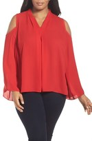 Vince Camuto Plus Size Women's Pleat Front Cold Shoulder Blouse