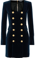 Balmain Double-breasted Cotton-blend Velvet Mini Dress - Navy