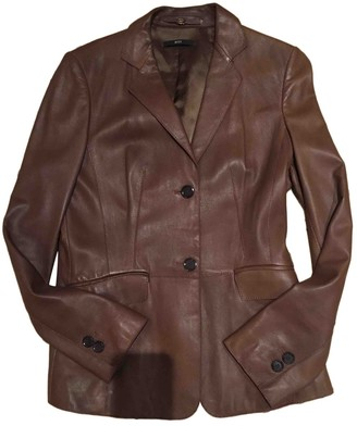 HUGO BOSS Brown Leather Leather Jacket for Women