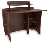 Bed Bath & Beyond Espresso/Natural Wood Desk with Shelf