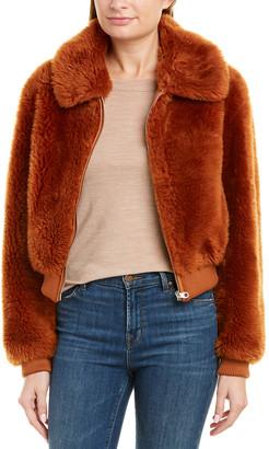 Yves Salomon Leather-Trim Wool Coat