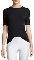 ATM Anthony Thomas Melillo Short-Sleeve Ribbed Stretch Jersey Tee, Black