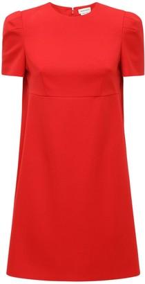 Alexander McQueen Wool Mini Dress W/ Back Cape