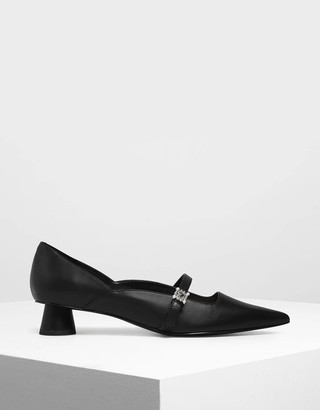 Charles & KeithCharles & Keith Gem Embellished Cylindrical Heel Mary Jane Court Shoes
