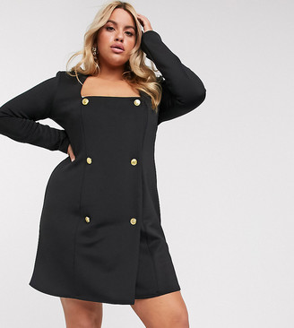 ASOS DESIGN Curve jersey square neck double breasted blazer