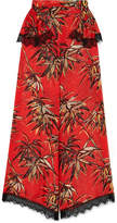 Rodarte Printed Silk-blend Satin Wide-leg Pants - Red