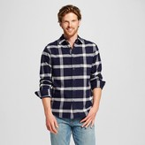 Merona Men's Plaid Crepe Flannel Button Down Shirt Navy