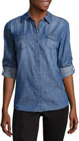 Arizona Long Sleeve Snap-Front Denim Shirt-Juniors