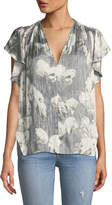 Halston Printed V-Neck Top w/ Ruching