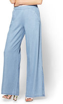 New York & Co. Soho Jeans - Ultra-Soft Chambray Palazzo Pant - Indigo Blue Wash