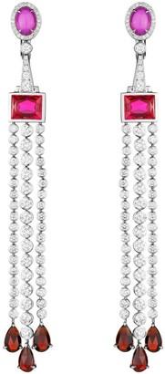 Swarovski Atelier Flowering Fuchsia Long Earrings Created Ruby