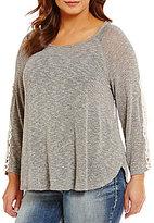 Moa Moa Plus Lace Side Sleeve Knit Top