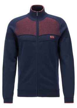 HUGO BOSS Zip-through knitted cardigan in a stretch-cotton blend
