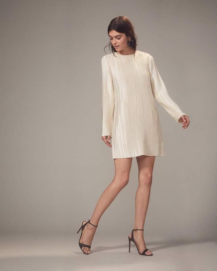 Tibi Champagne Plisse Pleat Mini Dress