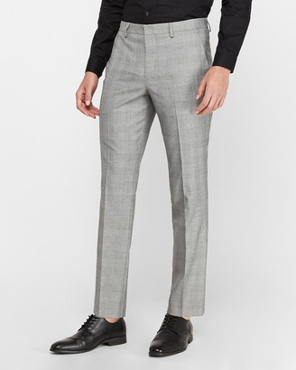 Express Slim Gray Plaid Wrinkle-Resistant Performance Dress Pant
