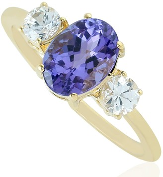 Artisan 18Kt Yellow Gold Blue Sapphire Tanzanite Designer Ring Women Gift Jewelry