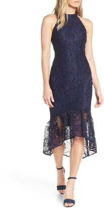 Forest Lily Lace Halter High/Low Dress