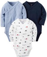 Carter's 3-Pack Long-Sleeve Side-Snap Bodysuits