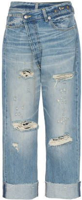 R 13 Cross Over Waist Distressed Boyfriend Jeans